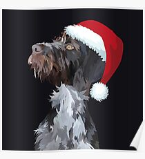 Christmas Wire Haired Pointer Poster