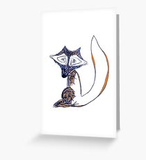 Blue Winter Fox Greeting Card