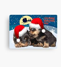 Puppy Christmas: I saw Mummy Kissing Santa Claus Vector Canvas Print