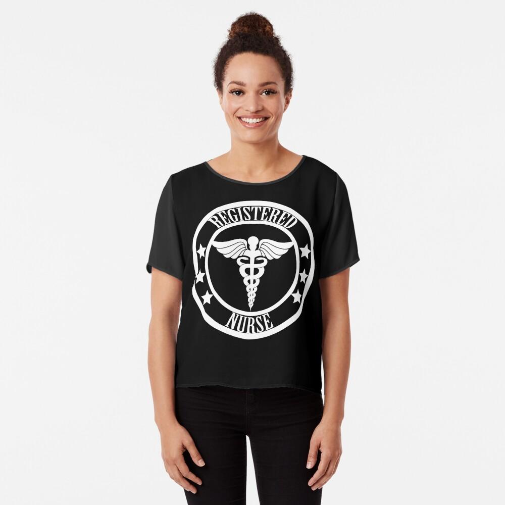 Registered Nurse - Schwarz und Weiß Chiffon Top