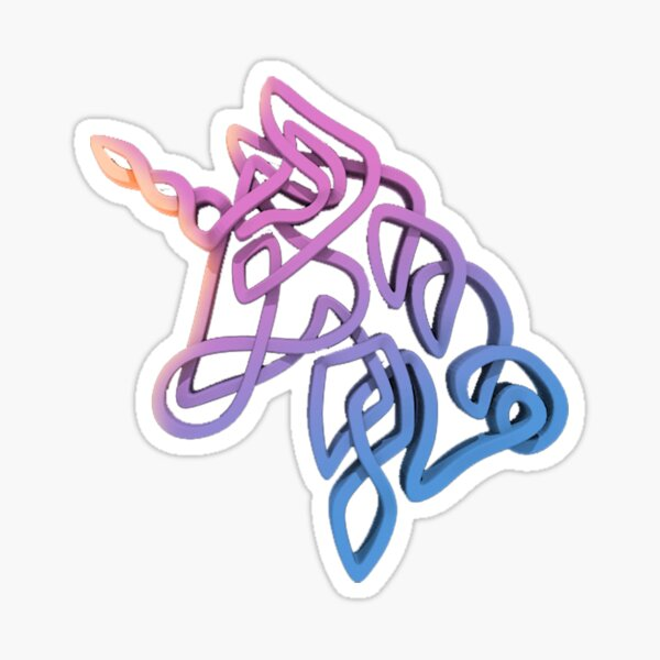 Rainbow Knotted Unicorn Head Sticker