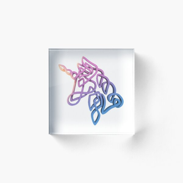 Rainbow Knotted Unicorn Head Acrylic Block