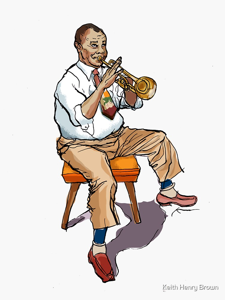 louis armstrong sticker by keithhenrybrown redbubble