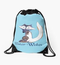 Blue Winter Fox Drawstring Bag