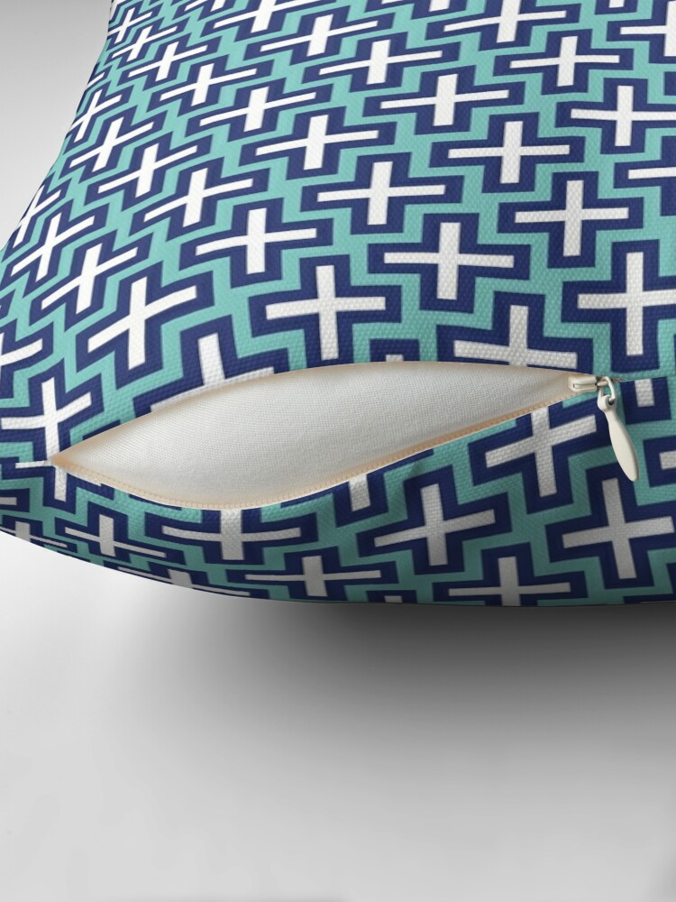 Alternate view of Dark blue and white crosses Throw Pillow