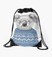 Winter koala Drawstring Bag