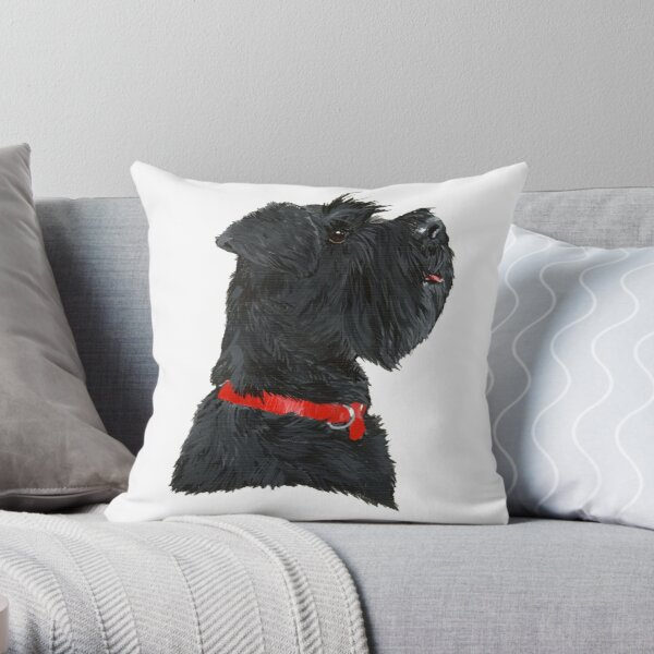 Miniature Black Schnauzer Head Shot Throw Pillow