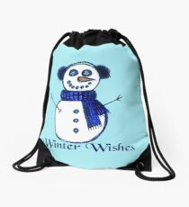 Snowman's Winter Wishes Drawstring Bag