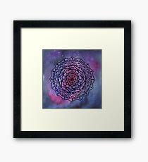 Black hand drawn mandala on galaxy watercolor background Framed Print