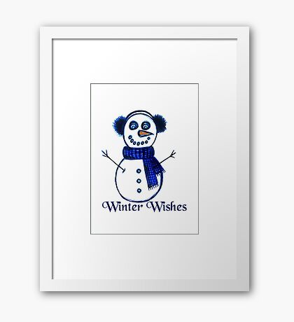 Snowman's Winter Wishes Framed Print
