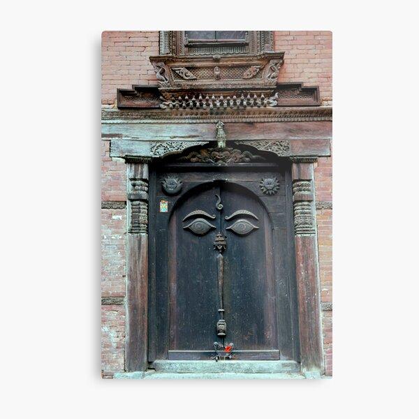 Buddha's Eyes on Nepalese Door Metal Print