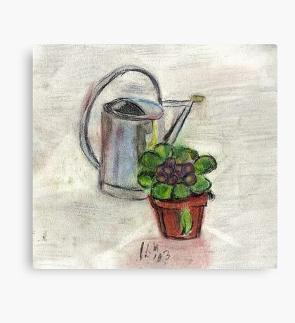 Watering Can With Flowerpot Canvas Print