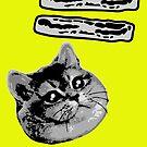 Funny Heavy Breathing Cat Loves Bacon Meme by electrovista