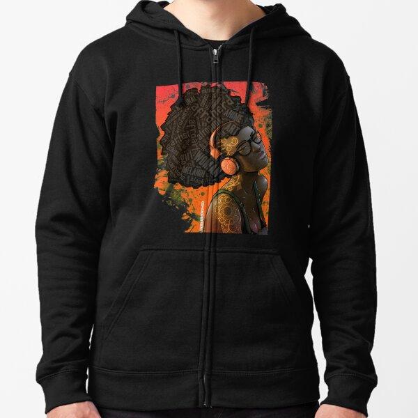 Afro Nerd Girl II (Orange) Zipped Hoodie