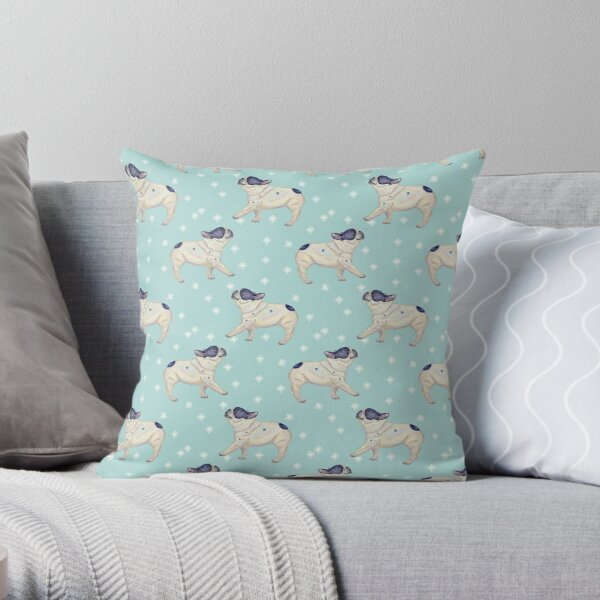 French Bulldog Pattern, Mint Background Throw Pillow
