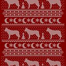 Ugly Christmas sweater dog edition - Ceskoslovensky vlcak red by Camilla Mikaela Häggblom