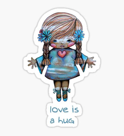 Love is a Hug Tshirt Sticker