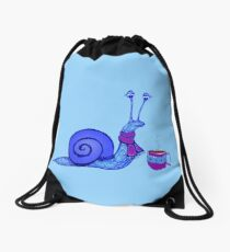 Blue Snail Warming Up Drawstring Bag