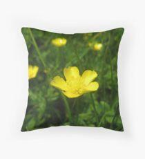 Battered buttercup Throw Pillow