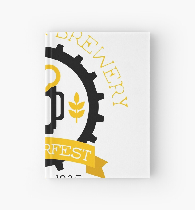 beer logo design template with pint hardcover journals by