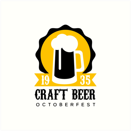 Craft Beer Logo Design Template With Pint Art Prints By Topvectors