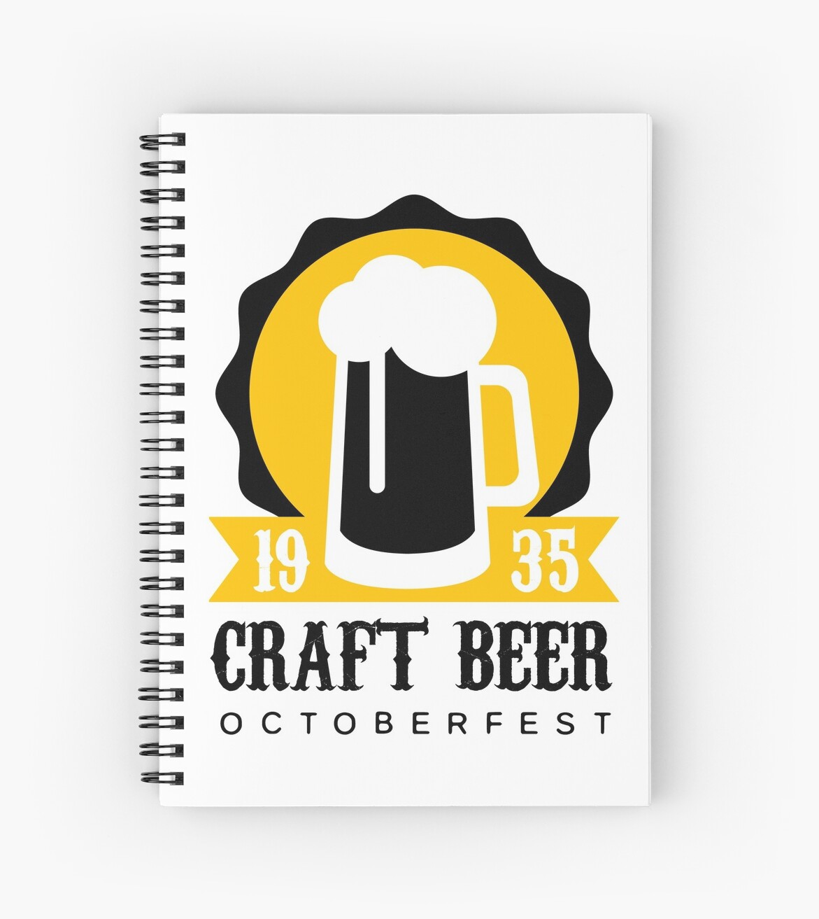 craft beer logo design template with pint spiral notebooks by