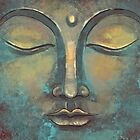 Grunge Watercolor Copper Buddha Face by Thubakabra
