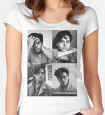 Cole Sprouse Collage B&W Women's Fitted Scoop T-Shirt