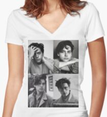 Cole Sprouse Collage B&W Women's Fitted V-Neck T-Shirt