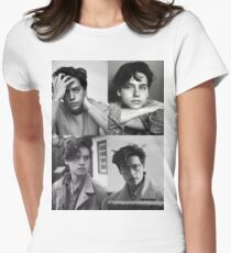 Cole Sprouse Collage B&W Women's Fitted T-Shirt