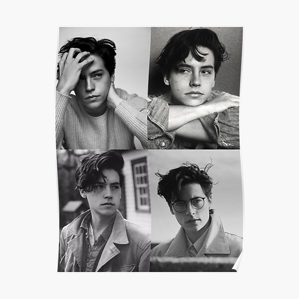 Cole Sprouse Collage B & W Póster