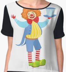 Colorful Friendly Clown Holding Top Hat In Classic Outfit Women's Chiffon Top
