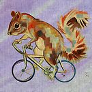 Squirrel On Bike (purple background) by Ellen Marcus