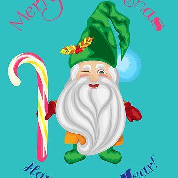Christmas gnome with a congratulatory inscription by IrinkaArt