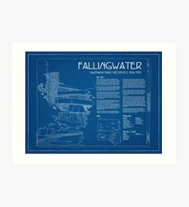 Fallingwater Survey Cover Blueprint - Frank Lloyd Wright Art Print