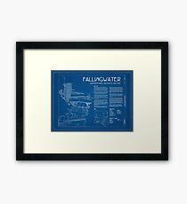 Fallingwater Survey Cover Blueprint - Frank Lloyd Wright Framed Print