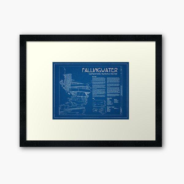 Fallingwater Umfrage Cover Blueprint - Frank Lloyd Wright Gerahmter Kunstdruck