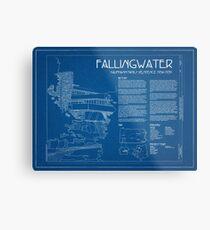 Fallingwater Survey Cover Blueprint - Frank Lloyd Wright Metal Print