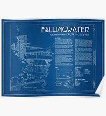 Fallingwater Umfrage Cover Blueprint - Frank Lloyd Wright Poster