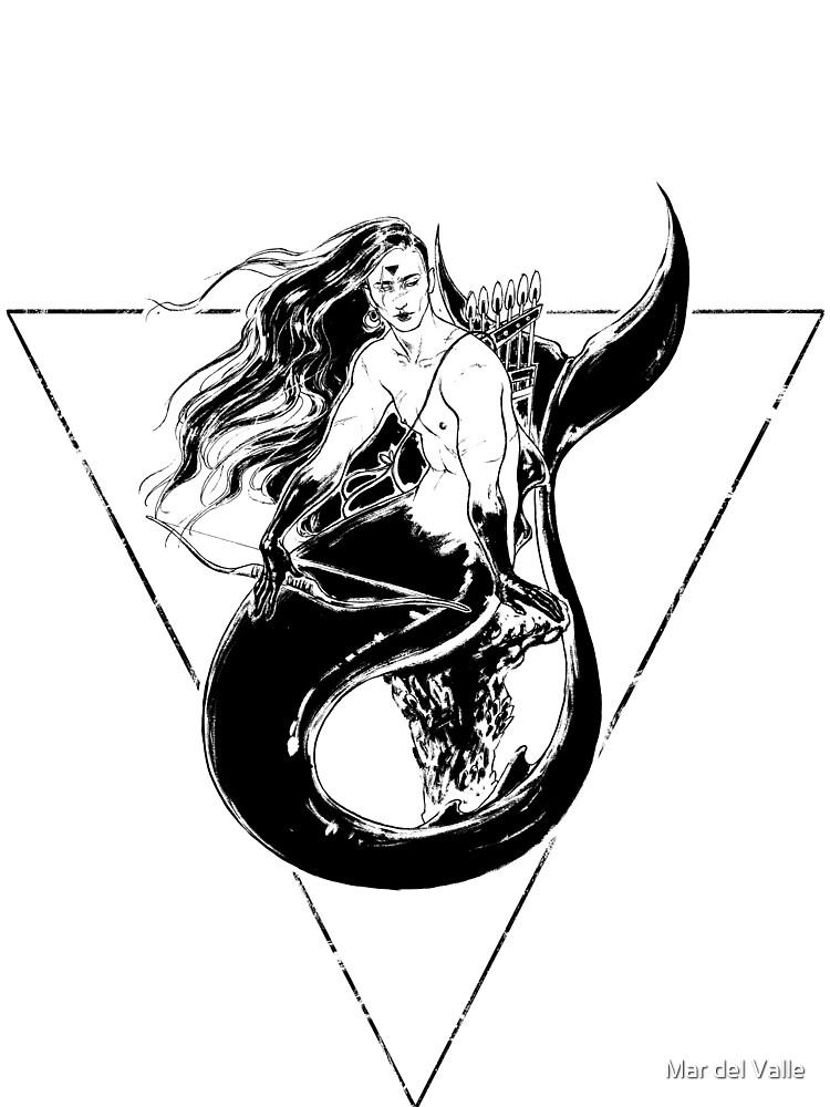Black Mermaid - Sirena Negra by mardelvallearts