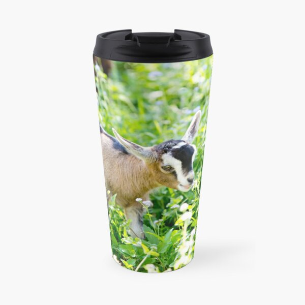 Young Beige Goat Kid in Meadow Travel Mug