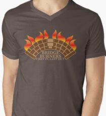 Bridgeburners first in last out with a burning bridge Men's V-Neck T-Shirt