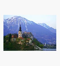 Island Church at Lake Bled, Slovenia Photographic Print