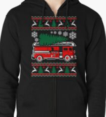 Merry Firefighter Ugly Christmas Sweater Funny Tshirt Zipped Hoodie