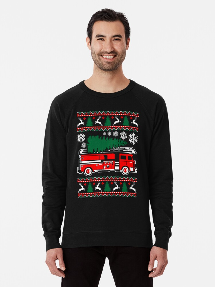 Ugly Christmas Sweater Funny.Merry Firefighter Ugly Christmas Sweater Funny Tshirt Lightweight Sweatshirt By Daoviet