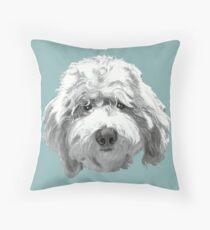 Lucky Labradoodle Face ~ Black and white Throw Pillow
