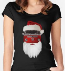 VW Santa Claus - black background Women's Fitted Scoop T-Shirt
