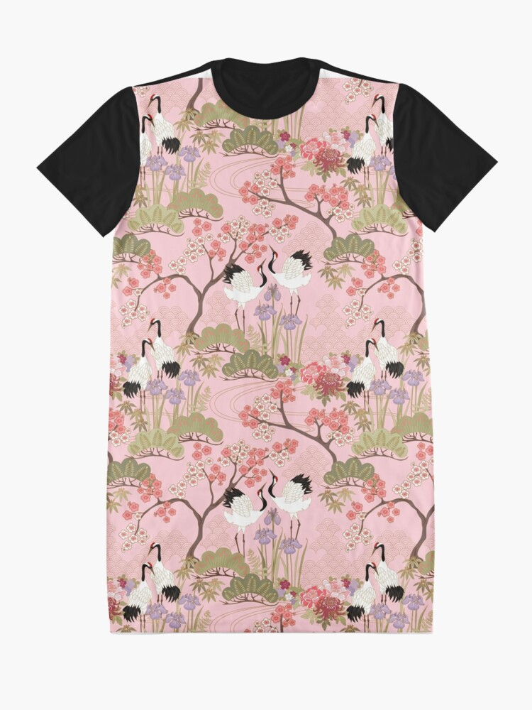 Alternate view of Japanese Garden in Pink Graphic T-Shirt Dress