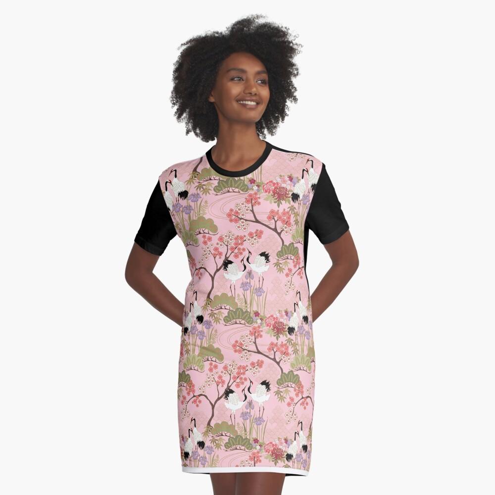 Japanese Garden in Pink Graphic T-Shirt Dress