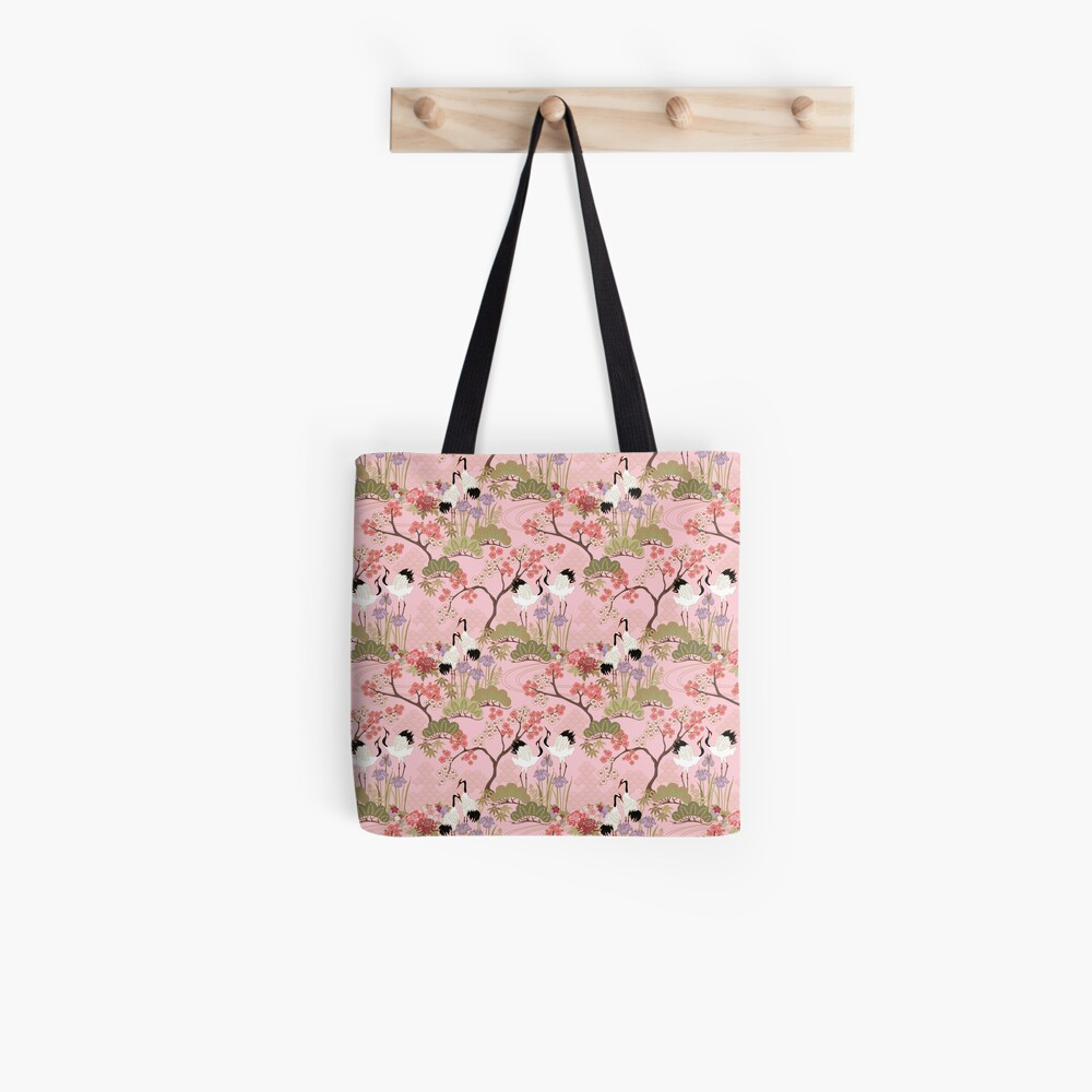 Japanese Garden in Pink Tote Bag